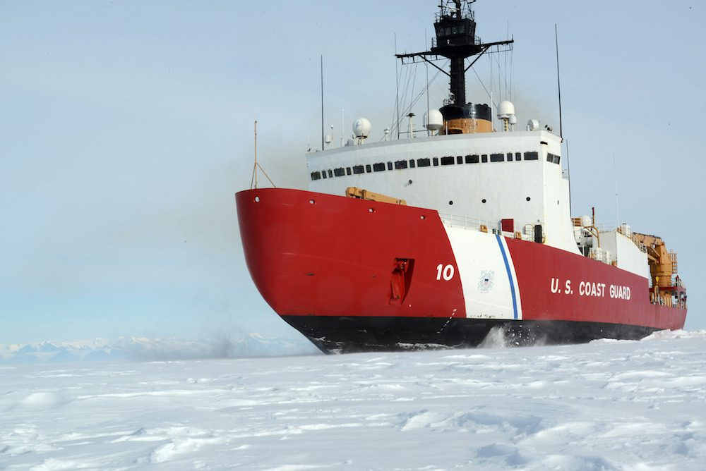 The Coast Guard Cutter Polar Star, with 75,000 horsepower and its 13,500-ton weight, is guided by its crew to break through Antarctic ice en route to the National Science Foundation's McMurdo Station, Jan. 15, 2017. The ship, which was designed more than 40 years ago, remains the world's most powerful non-nuclear icebreaker. (U.S. Coast Guard photo by Chief Petty Officer David Mosley)
