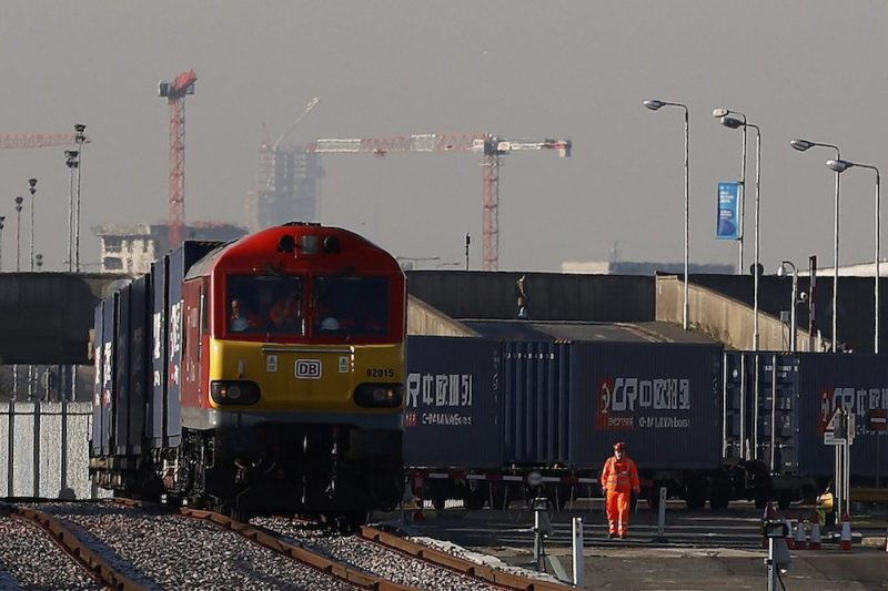 The first freight train to travel from China to Britain arrives at a welcoming ceremony to mark the inaugural trip at Barking Intermodal Terminal near London, Britain January 18, 2017. REUTERS/Stefan Wermuth