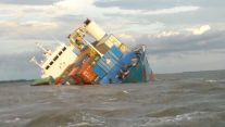 Cargo Ship Partially Sinks Off Ecuador