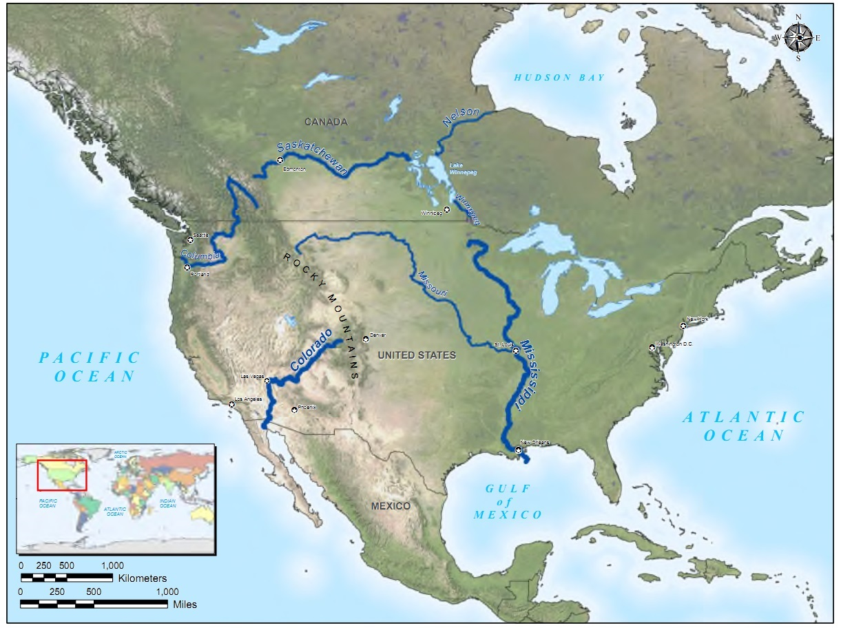 United States GeographyRivers And Lakes Outline Map US Rivers - Major us rivers map