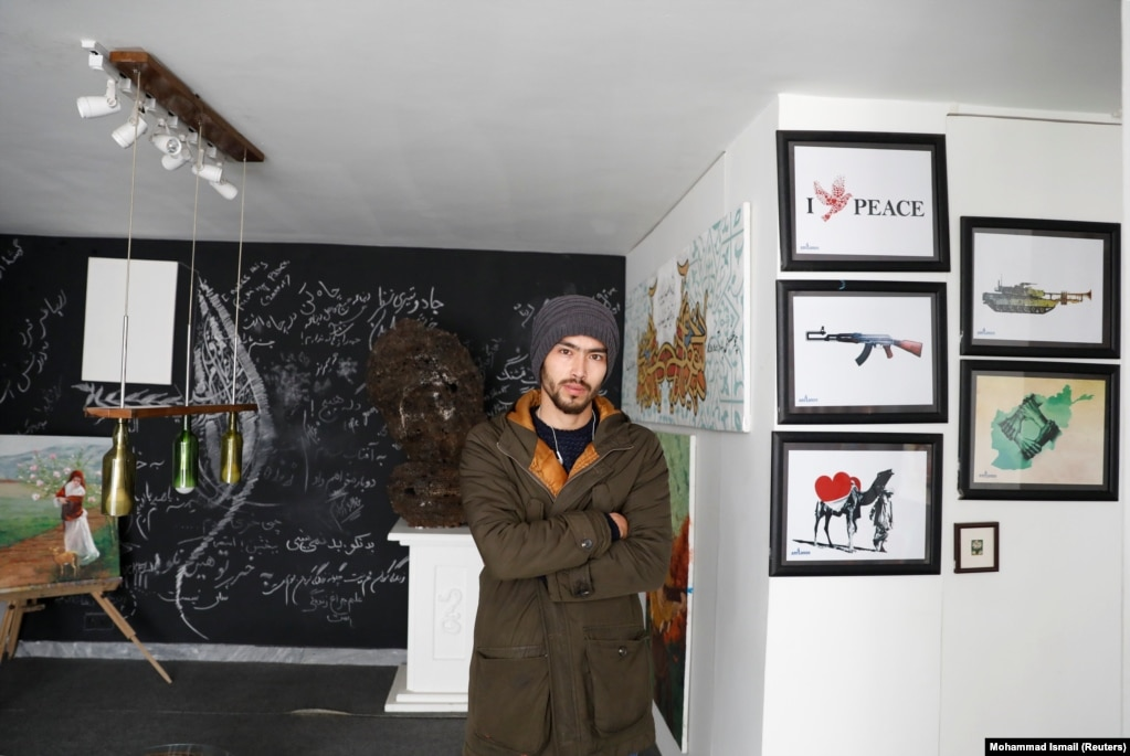 """Artist Mahdi Zahak, 25. """"There is hope for peace. But the only way we can have peace is if they (the Taliban) accept the achievements made in this country in the past 17 years and let everyone enjoy their lives."""""""