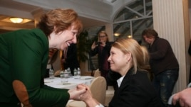 The EU's Catherine Ashton meets with former Ukrainian leader Yulia Tymoshenko in Kyiv on Feb. 25, 2014.