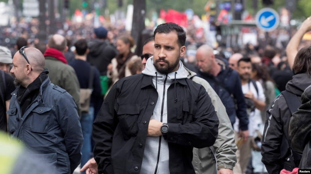 Former Macron Security Aide Claims He Was Trying to Help Police FILE   Alexandre Benalla  French presidential aide  is seen during the May  Day rally