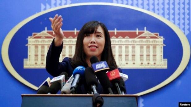 """Phát ngôn viên Lê Thị Thu Hằng nói """"Việt Nam luôn luôn tuân thủ với các nghị quyết liên quan của Hội đồng Bảo an Liên Hiệp Quốc""""."""
