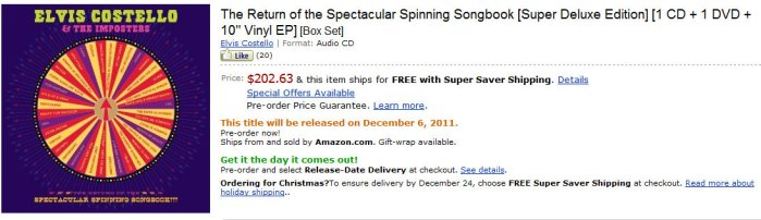 Elvis Costello Amazon Listing
