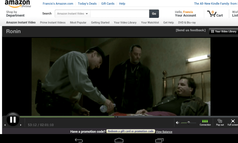 Amazon Prime on Nexus 7