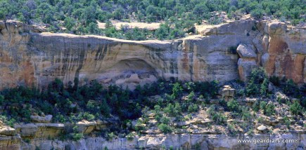 A cliff dwelling seen from the road