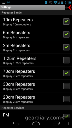 RepeaterBook for Android Selection Screen