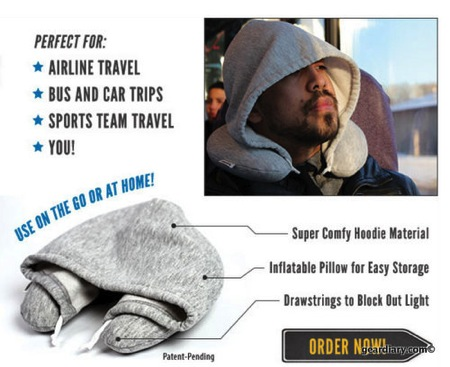 Travel HoodiePillow Hooded Travel Pillow