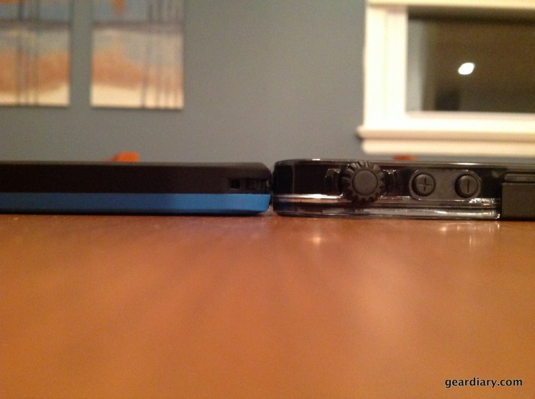 Thickness comparison with the Lifeproof Fre.