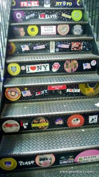 The steps up from the basement at Bleecker Street Records