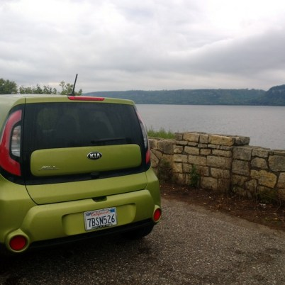 The back end of our Kia Soul next to Pepin Lake, outside of Pepin, Wisconsin