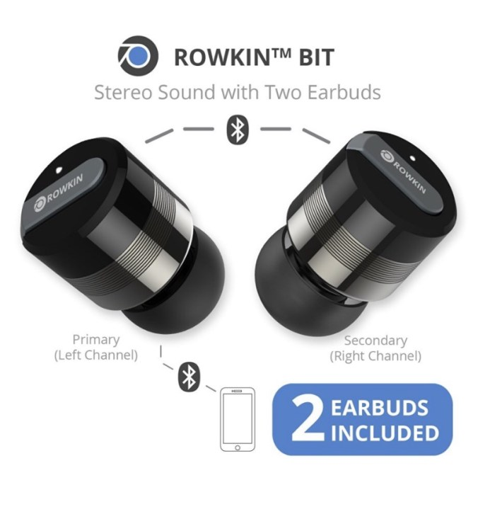 rowkin bit charge stereo bluetooth earbuds with portable charger are the ipho. Black Bedroom Furniture Sets. Home Design Ideas