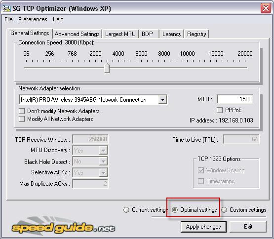 SpeedGuide TCP Optimizer - Optimiser votre connexion Internet