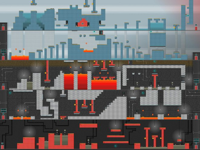A complete five-floor Pixel Press game level.