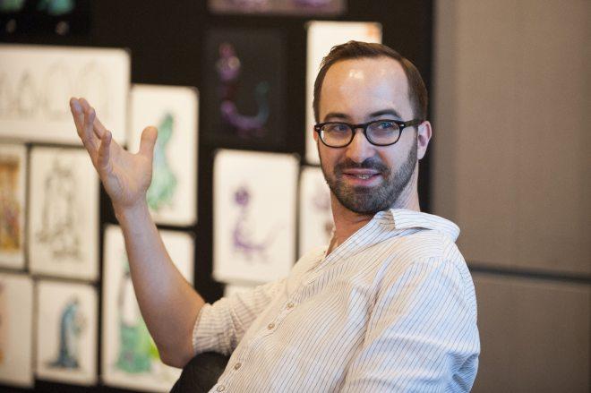 The Blue Umbrella Director, Saschka Unseld talks with press at Monsters University Long Lead Press Days. Pixar Animation Studios. Emeryville, California. April 9, 2013 (Photo by Jessica Brandi Lifland/Pixar)