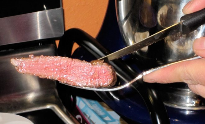 Steak sliced