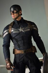 Cap in his controversial new SHIELD-provided uniform.