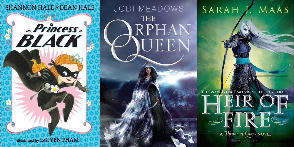 Covers for The Princess in Black, The Orphan Queen, and Heir of Fire