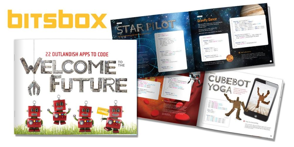 Shows the cover and two sample pages from the booklet contained in Bitsbox box #2.