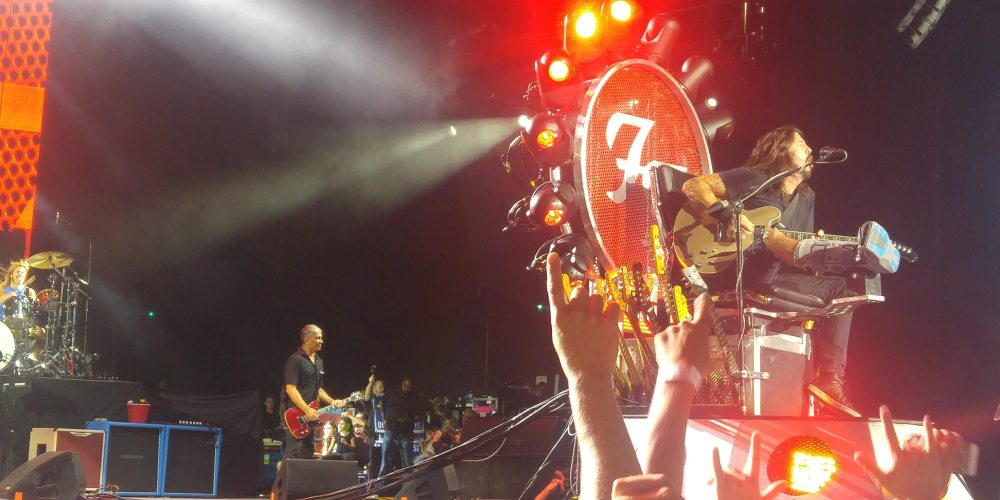 Dave Grohl leads the Foo Fighters in their first of two performances in Toronto. Following an accident which fractured his right leg, he performed from a custom designed, moving Throne. Photo: Stephen Clark