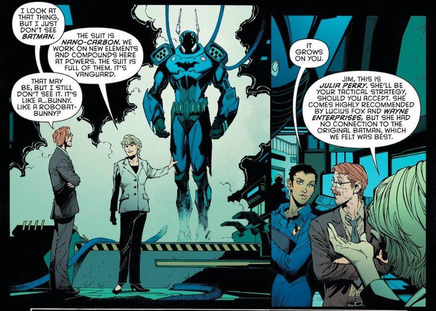 Jim Gordon finds a Bat-suit., copyright DC Comics