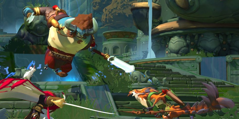 Characters clash in front of jungle ruins, a blue minotaur leaping into the air wielding two swords.