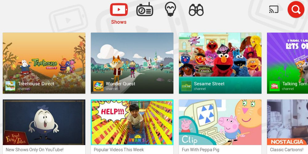 YouTube Kids Main Screen