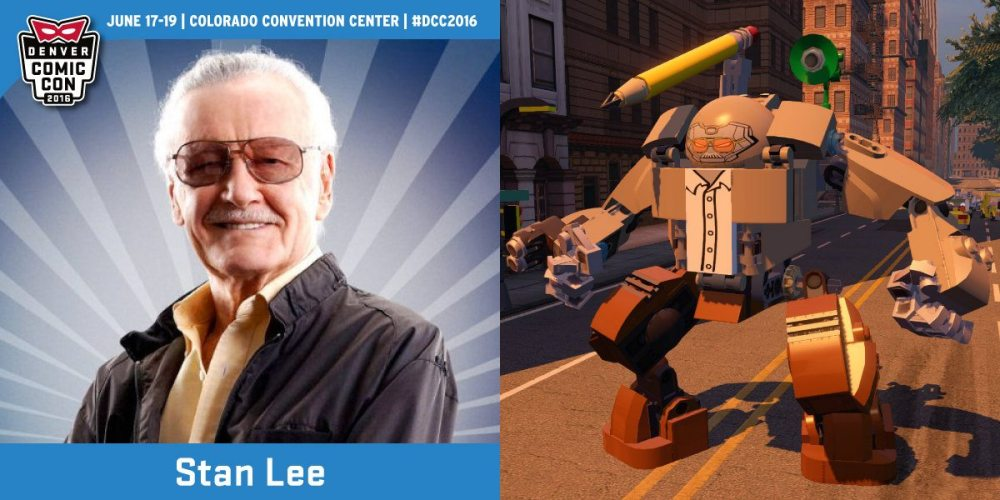"Publicity still of Mr. Lee via denvercomiccon.com, game footage of ""The Stanbuster"" © The LEGO Group, MARVEL, WBEI"