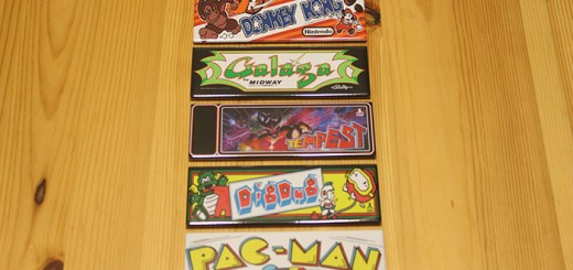 A collection of 80's arcade game marquees as refrigerator magnets, by Blue Crab Magnets.