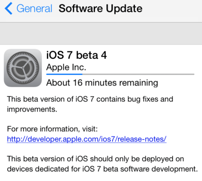 iOS 7 beta 4 download ota update