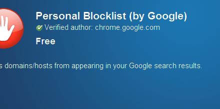 Personal Blocklist para ayudar en la selección de sitios web de calidad