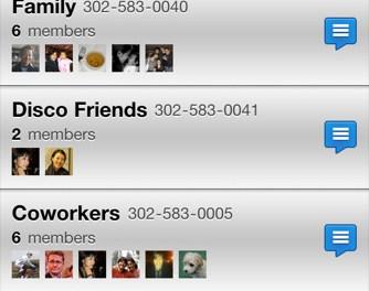 Disco: Mensajes de texto en grupo – iPhone app. No Android a pesar de ser una compañía de Google.