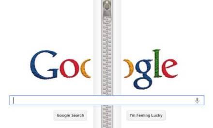 Un cierre/cremallera animado en el Doodle de Google de hoy en honor a Gideon Sundback