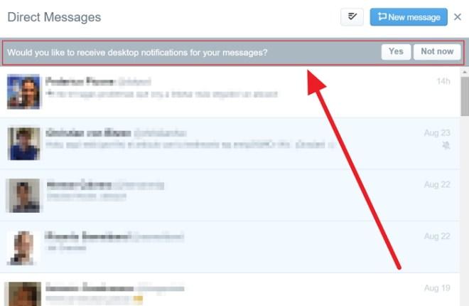 Twitter introduce notificaciones de Mensajes Directos en