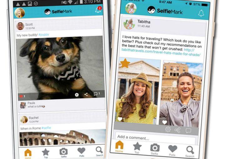 SelfieMark (iOS/Android) permite capturar imágenes, compartir y realizar sondeos comparando dos imágenes
