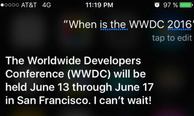 Apple confirma lo dicho por Siri sobre la fecha de la WWDC 2016