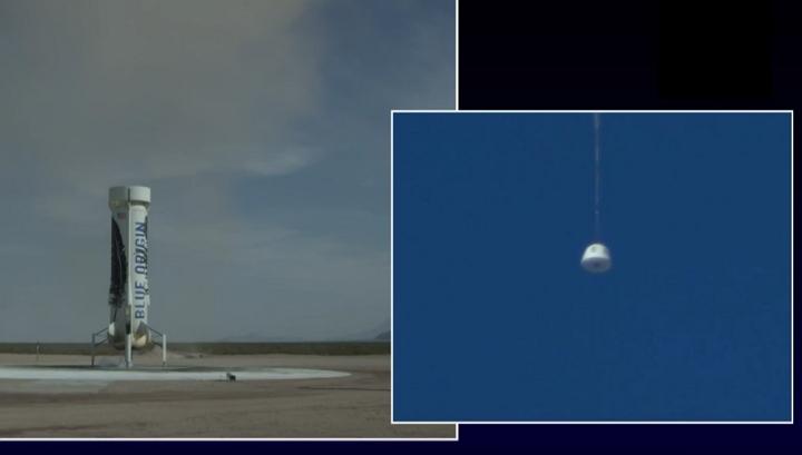 Blue Origin lanza y aterriza con éxito el cohete reusable New Shepard por 4ta vez consecutiva