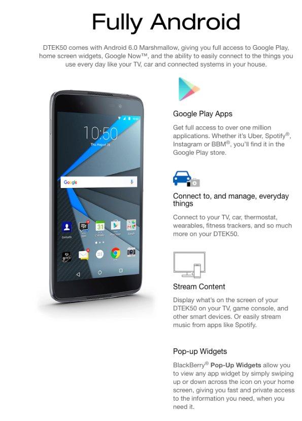 Blackberry DTEK50 Android