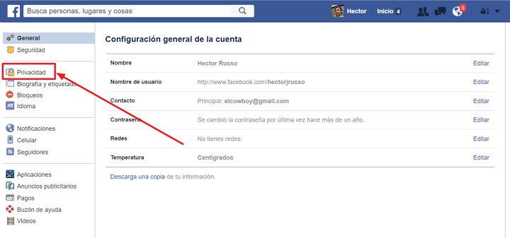 controles de privacidad de Facebook