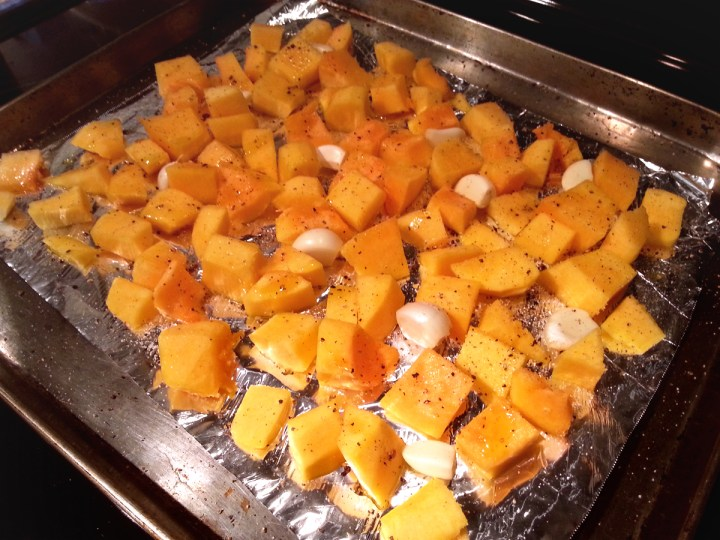 Roasting Butternut Squash and Garlic