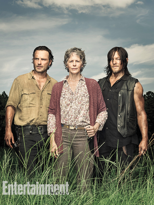 Andrew Lincoln, Melissa McBride, Norman Reedus (photo credit Dan Winters for EW)