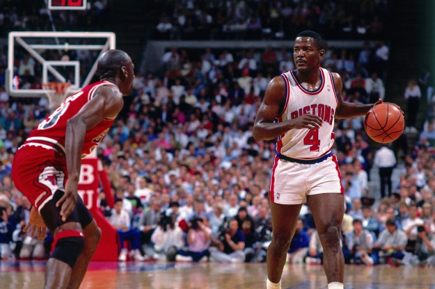 AUBURN HILLS, MI - 1990: Joe Dumars #4 of the Detroit Pistons handles the ball against Michael Jordan #23 of the Chicago Bulls circa 1990 at the Palace of Auburn Hills in Auburn Hills, Michigan. NOTE TO USER: User expressly acknowledges and agrees that, by downloading and/or using this Photograph, User is consenting to the terms and conditions of the Getty Images License Agreement. Mandatory Copyright Notice: Copyright 1990 NBAE (Photo by Andrew D. Bernstein/NBAE via Getty Images)