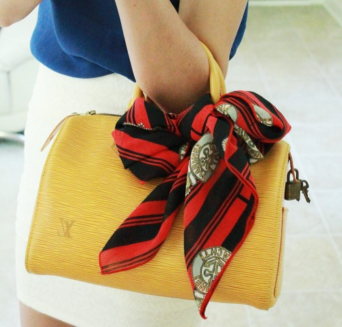 Vintage Louis Vuitton Epi Leather Speedy 25 + handmade square scarf bow