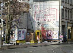 Fleischerei-Reißaus-Werbung in Lindenau, Januar 2014