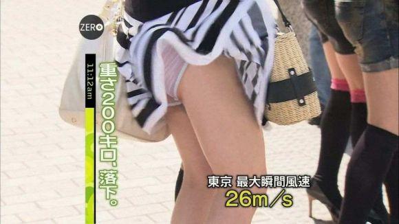 【速報】台風ニュースで透けブラ・パンモロする女の子wwwwwww