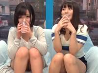 【動画】お酒に酔って連続ハメされる巨乳素人JD2人組