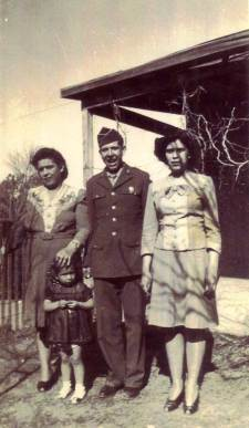 Consuelo, Peter Jr. and Ida Stoltz as Peter leaves for World War II