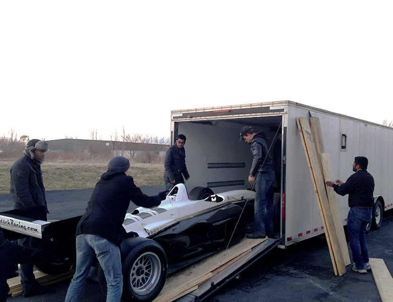 Packing up the 97 Reynard to transport it to the new shop