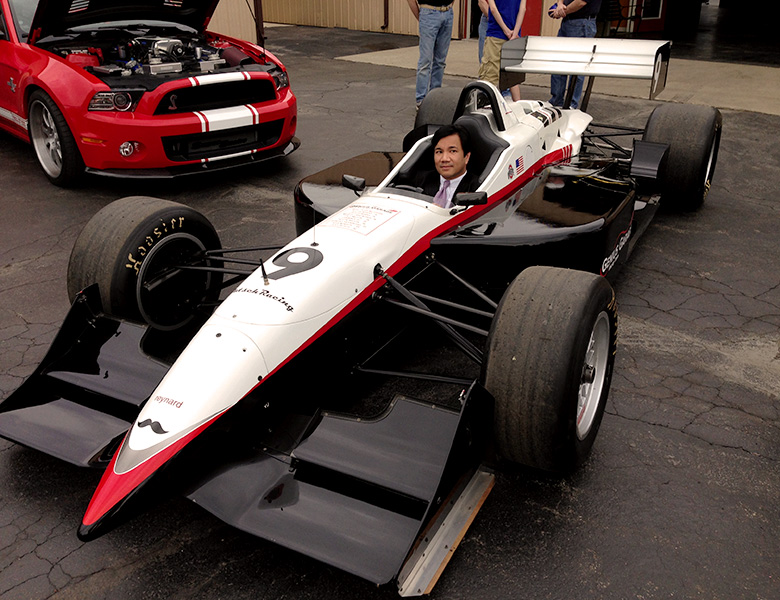 Michael Soriano from the Porsche Club of America tries out the Reynard